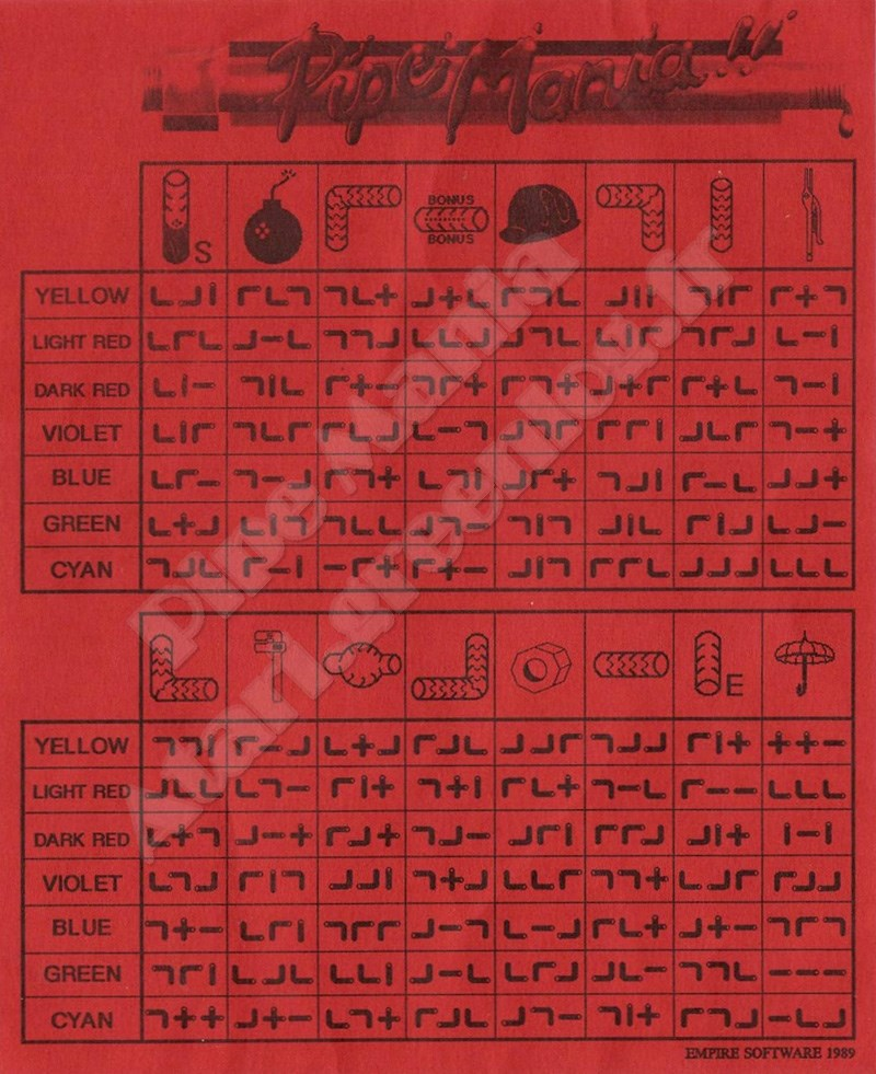 Pipe Mania : codes