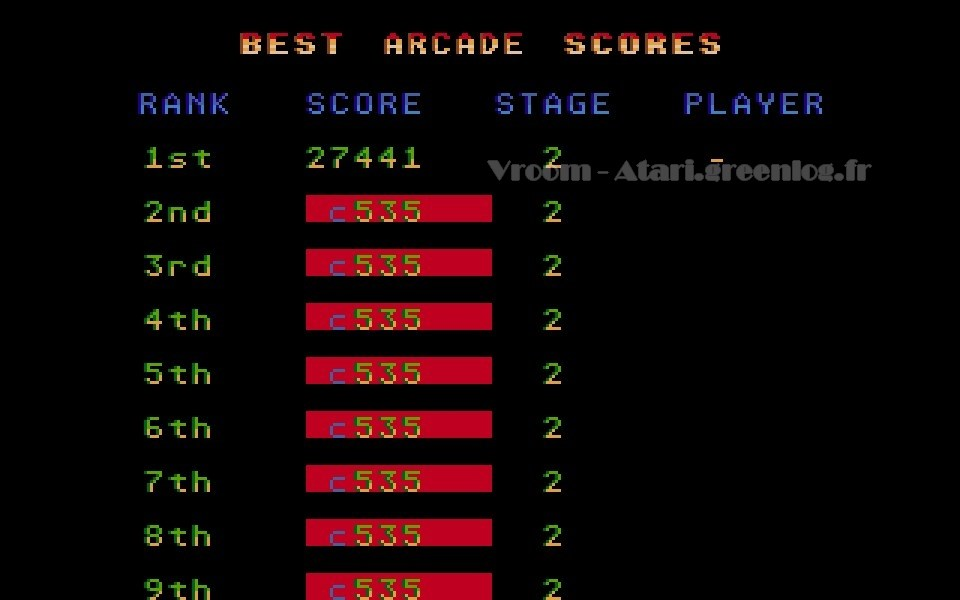 Vroom : Écran des scores