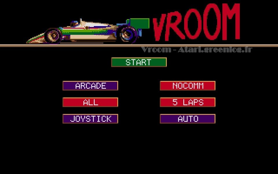 Vroom : Le menu
